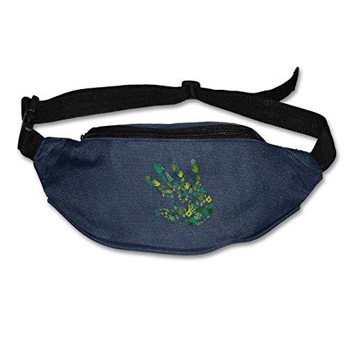 Riñonera Deportivo Huellas Dactilares de Palma Bolso Cintura Cinturón Ajustable Running Belt Bolsa de Correr
