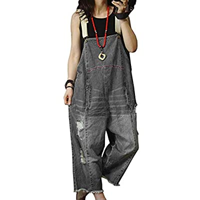 Women's Jeans Overalls Jumpsuits Distressed Casual Loose Fit