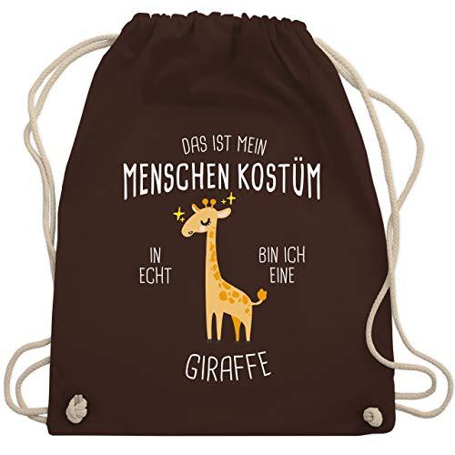 Shirtracer Karneval & Fasching - Das ist mein Menschenkostüm in echt bin ich eine Giraffe - Unisize - Braun - Statement - WM110 - Turnbeutel und Stoffbeutel aus Baumwolle