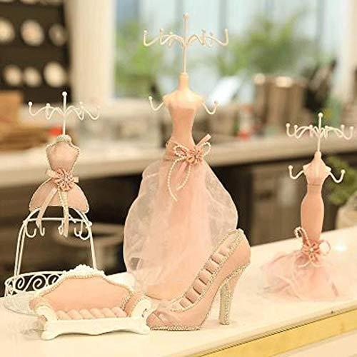 Soporte De Joyería 5pcs / set linda señora Girls Sala de exhibición de la joyería del ornamento del vestido de maniquí que cuelga la pulsera del anillo del collar del pendiente titular de rack Organiz