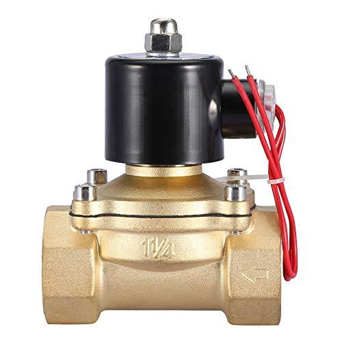 Ventil, Valve DN32 2 Position 2-Wege 1-1/4 zoll Messing-Elektromagnetventil Normal geschlossener Typ 220V AC,rostfest, robust und sehr langlebig, Hitzebeständig,Schutzniveau IP65
