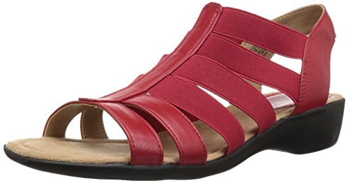 LifeStride Women's Toni Flat Sandal, red, 6 M US