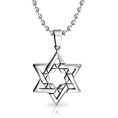 Bling Jewelry Hanukkah Religiosa Ebraica Grande Stella di David Collana Pendente per Uomo in Acciaio Inossidabile Catena A Sfere