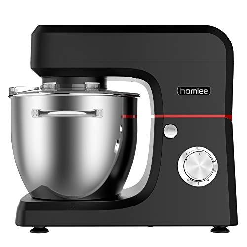 Homlee 1800W Küchenmaschine Hohe Energie Knetmaschine 6.5 Liter-Rührschüssel, Geräuschlos 6-stufige Geschwindigkeit Teigmaschine, spülmaschinengeignet (Schwarz)