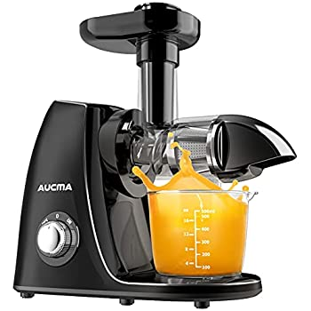 Juicer Machines Aucma Cold Press Juicer,Slow Masticating Juicer with Quiet Motor and Reverse Function Easy to use and clean for Fruits and Vegtables include with Brush and Recipes  Black