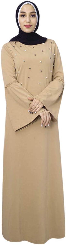 S.H.EEE Bell Sleeve Knit Pearls Loose Plain Abaya Muslim Islamic Dress Women