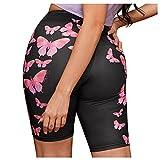 Dasongff Short de yoga pour femme - Legging court - Pantalon de jogging - Opaque - Entraînement - Gym - Yoga - Fitness - Multicolore - Imprimé papillon