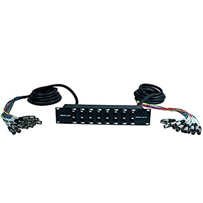 Seismic Audio - SARMSS-16x1515-16 Channel XLR TRS Combo Splitter Snake Cable Two 15' XLR trunks - Rack Mountable