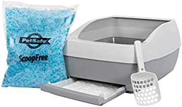 PetSafe Deluxe Cat Litter Box with Crystal Litter System – Starter Kit Includes Litter Scoop, Pee Pad, 1 Month of ScoopFree Premium Crystal Litter