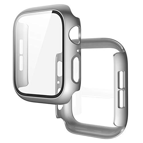 ZLRFCOK Funda protectora One para Apple Watch 5 4 de unión de pantalla completa para Iwatch3/2/1, película de acero de 44 mm, 42 mm, 40 mm, 38 mm (color: plata, diámetro de la esfera: 42 mm)