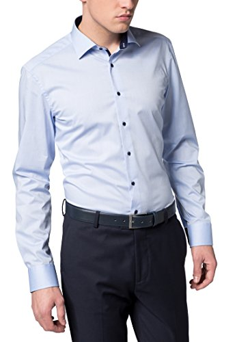 eterna Langarm Hemd Slim Fit Stretch Unifarben, Hellblau, W38 Langarm