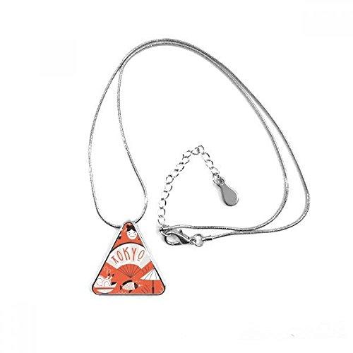 Sushi Geisha Japan Tokio Kulturelle japanischen Stil, Triangle Form Anhänger Halskette Schmuck mit Kette Dekoration Geschenk