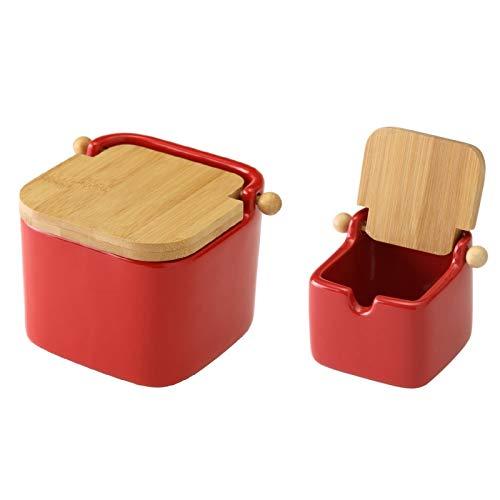 D,casa - Salero y azucarero de Cocina Rojo de Ceramica con Tapa de Bambu