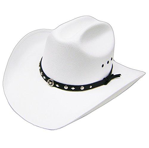 Modestone Unisex Traditional Straw Sombrero Vaquero Metal Concho Hatband White (Ropa)