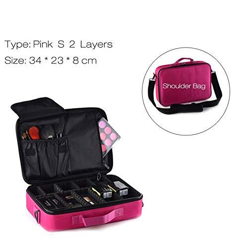 Trousse De Voyage Femmes Maquillage Sacs cosmétiques Case Box Organisateur Voyage grande capacité professionnelle Make Up Pouch Valise Brosses de stockage Boîte à outils (Color : Pink S 2 Layers)