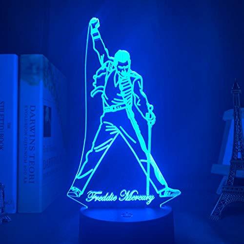 3D Illusion Lamp British singer Freddie Mercury (Freddie Mercury) USB Light Decoration Bedroom Toys Birthday Children Acrylic Baby Bedside Kids Room Gifts-16 colors remote