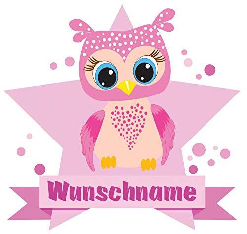 Samunshi® Große rosa Eule Wandtattoo Türschild mit Name personalisierbar Kinderzimmer Türaufkleber Baby Wandaufkleber in 9 Größen (40x35cm Mehrfarbig)