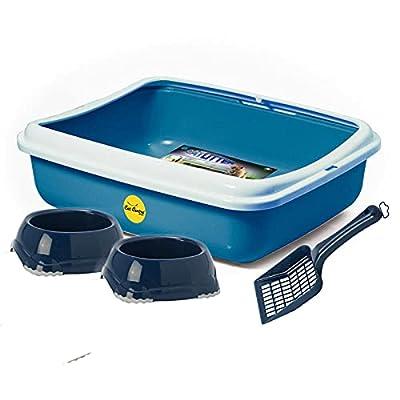 Large Turquoise Cat Litter Box + Dark Blue Litter Scoop + 2 Dark Blue Cat Bowls 0.3L