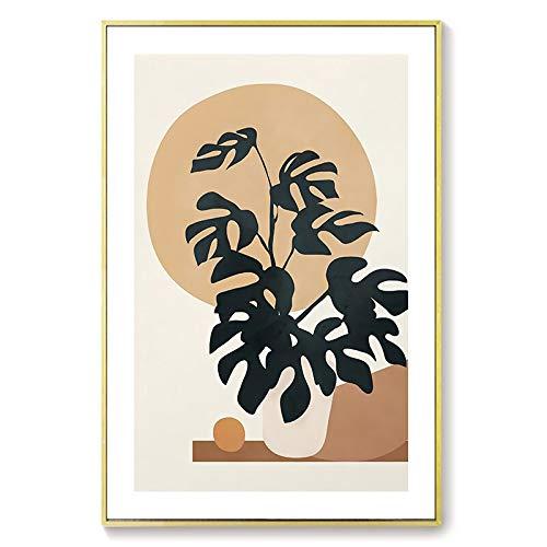 HFWYF Sin Marco Lienzo Abstracto de Estilo japonés, Pintura de Personaje Moderno, Cartel de Hoja de Planta e impresión, Imagen de Arte de Pared para Sala de Estar, decoración del hogar, 30x40 cm