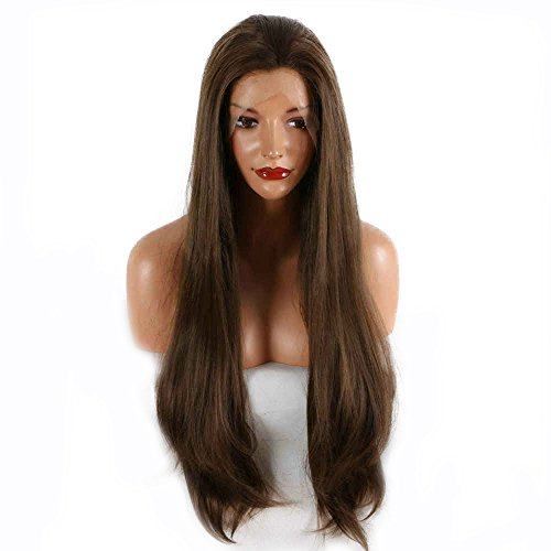 Natural Brown Color Drag Queen Wig Long Synthetic Hair Handmade Lace Front Wigs For Women Party Cosplay Festival Holidays Wigs 26\