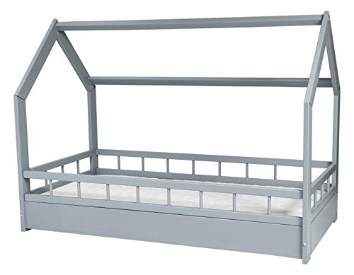 completo letto&casa+materasso ECO,stile scandinavo,bambino 160x80cm+sponde (colore del letto: grigio)