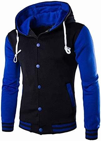 Men's Varsity Jacket Highschool Baseball Fleece Letterman Hooded Bomber Jacket For Men