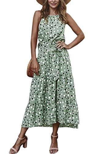 Zilcremo Damen Sommerkleider Böhmisch Kleid Polka Dots Kleid Strandkleid Lang Kleider MaxiKleid Cocktailkleid mit Gürtel Grüner Punkt S