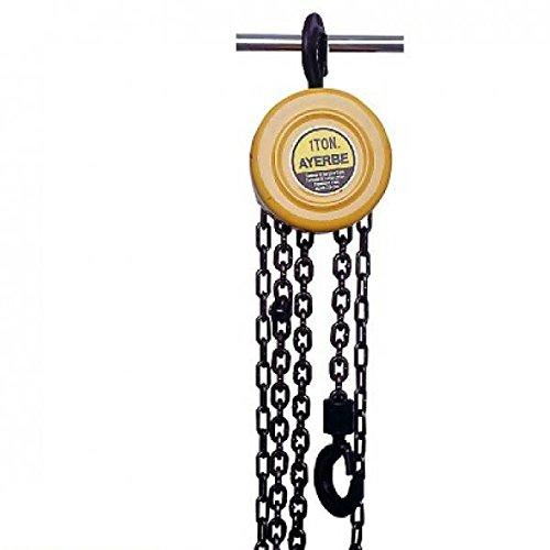 Ayerbe 0003404 Polipasto manual de cadena con capacidad de carga de hasta 1000 Kgs, 2, 5 M...