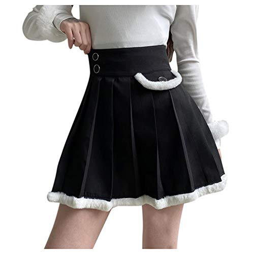 NAQUSHA Skirt Women's Summer Dress Ladies Dresses Stitching Pleated Mini Skirts Sexy Short Skirt(Black,Small)