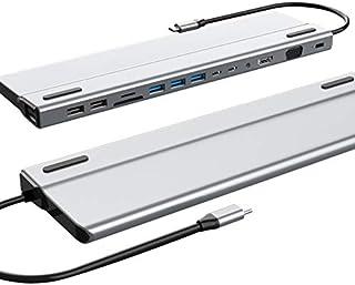 Fransande USB C HUB, 14 in 1 Docking station multifunzione di tipo C, scheda di rete Gigabit per computer portatile PC