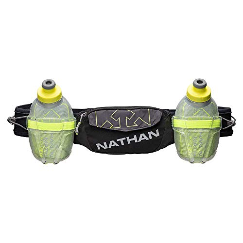 Nathan Hydration Insulated Running Belt Trail Mix Plus - Adjustable Running Belt – TrailMix Includes 2 Insulated Bottles/Flask – with Storage Pockets. Fits Most iPhones