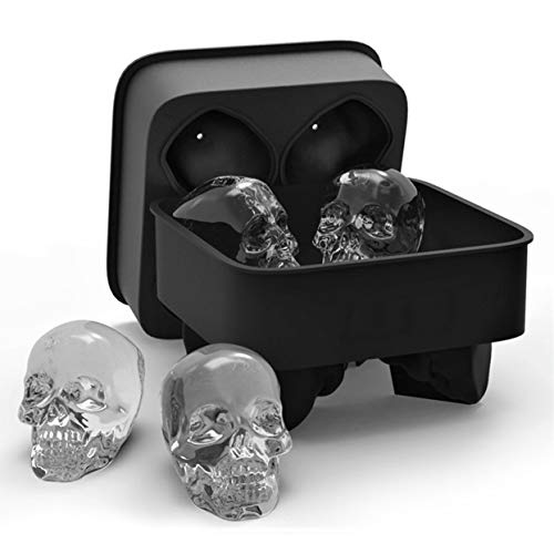Shenykan Kreative Schädel Eiswürfelschale 3D Cool Shape Flexible Silikonform Vier Riesen Iced Skulls Easy Release Form für Bar Home - Schwarz