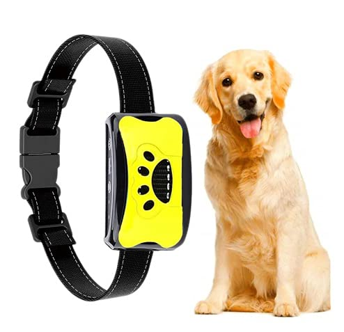 Collar De Adiestramiento para Perros Collar De Nailon Recargable con Dispositivo Antiladridos por Vibración Collares Antiladridos Automático para Perros Pequeños, Medianos y Grandes (A)