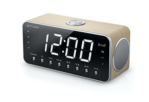 Muse M-196 CWT digitaler Stereo Radio-Wecker mit riesigem LED-Display (4,6 cm), dimmbar (UKW, MW, Bluetooth, NFC, USB, AUX, Senderspeicher, Dual-Alarm), holzfarben