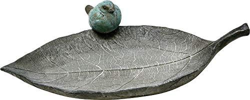 Vogeltränke Blatt mit Spatz, 32 x 21 cm, Vogel-Tränke Trinkschale Vogelbad Garten Tränke