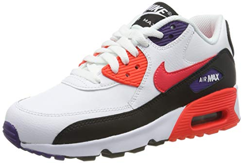 Nike Herren AIR MAX 90 LTR (GS) Laufschuhe, Weiß (White/BRT Crimson/Black/Court Purple 117), 38 1/2 EU