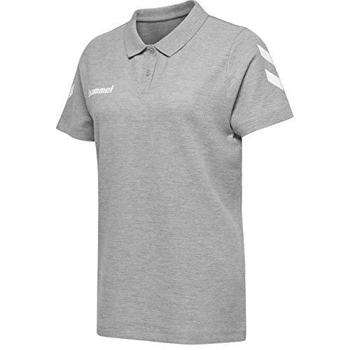 hummel Damen HMLGO Cotton Polo Hemd, Grau Melange, XL