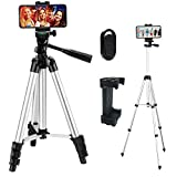 Phone Tripod,VOSSCOSS 42 Inch Aluminum 360 Lightweight Travelling Tripod Portable Camera Tripod for iPhone, Smartphone, DSLR Camera Stand with Phone Mount & Bluetooth Wireless Remote Control - Silver