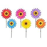 MagiDeal 36 cm DIY Sonnenblume Windmühle - Blume Windrad Windspiel - Deko für Camping Garten Party Festival Garten 6 Stücke