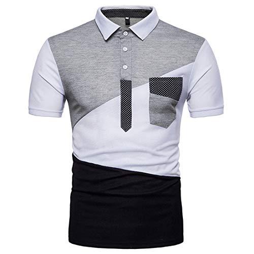 Polo Shirt Hombre Verano Contraste Color Empalme Hombre Camisa Básica Elástica Manga Corta Deportiva Camisa Ajustada Negocios Casual Golf Hombre Henley Camisa N-White4 S