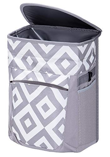 FORBY Collapsible Leak Proof Car Trash Can with Lid and 3 Storage Pockets| 2.5 Gallon Large Capacity Auto Garbage Bin Hanging for Headrest|Portable Multifuntional Hanging Vehicle Car Organizer Bin