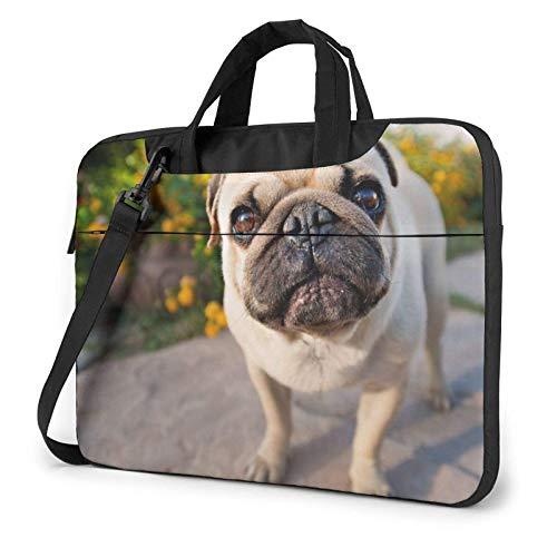 Cute Pug Dog Laptop Shoulder Bag Compatible Laptop Carrying Handbag with Strap