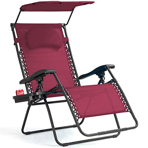 Goplus Folding Zero Gravity Lounge Chair Wide Recliner for Outdoor Beach Patio Pool w/Shade Canopy (Wine Zero Gravity Chair)