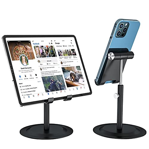 2021 Upgrade Cell Phone Stand Angle Height Adjustable Phone Stand 360°Aluminum Cell Phone Holder for Desk Compatible with iPhone 11/Xr/Xs Max All Smartphones and All Tablets (4-11'')
