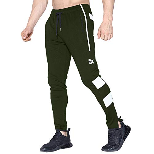 BROKIG Mens Zip Light Weight Gym Jogger Workout Pants, Running Sweatpants with Zipper Pockets (X-Large, Army Green)