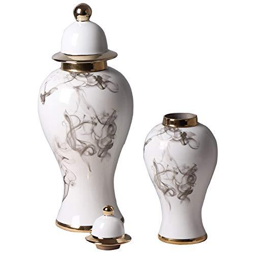 NHAO Antike Porzellan Vasen Set von 2 Dekorativen Chinesische Tintengemälde Blumenvase Porzellan mit Deckel Vase kostbare Geschenke Handgefertigte Dekorative Vase für Hause