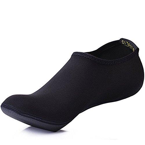 SITAILE Zapatos de Agua Verano, Escarpines Calcetines Descalzo Antideslizante para Hombre Mujer Unisex, Zapatillas Calzados Deporte Acuático Surf Playa Piscina Buceo Yoga, A-Negro, Adulto L, EU39-40