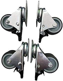 Wivarra Castor Wheels Swivel Transport Rollers Polypropylene Castors Galvanised 4Pcs (Double Wheels Active with Brake)