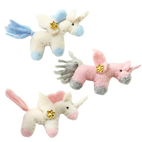 LIOOBO 3 Piezas artesanales Adornos de Unicornio de Fieltro navideño Colgante de decoración de Unicornio de Felpa...