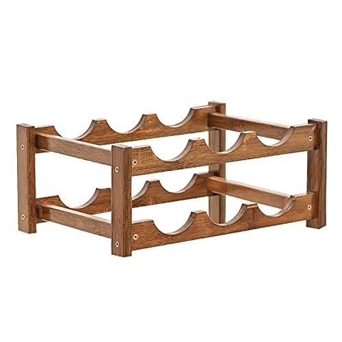 Lrxinki Botellero de bambú apilable, 4 niveles, estilo clásico, perfecto para bar, bodega, sótano, armario, despensa (A)